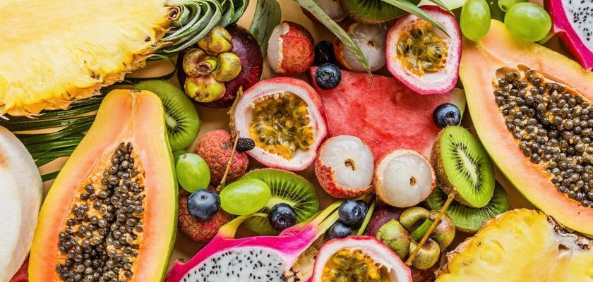 koláž exotického ovoce