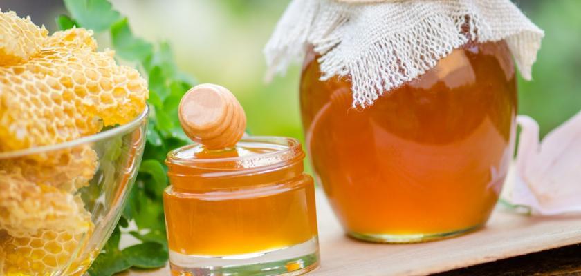 medová plástev a sklenice medu