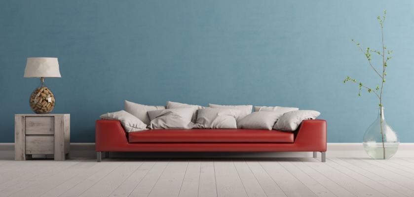 obývací pokoj vymalovaný světle modrou barvou