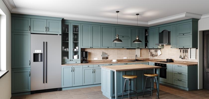 kuchyň v modré barvě