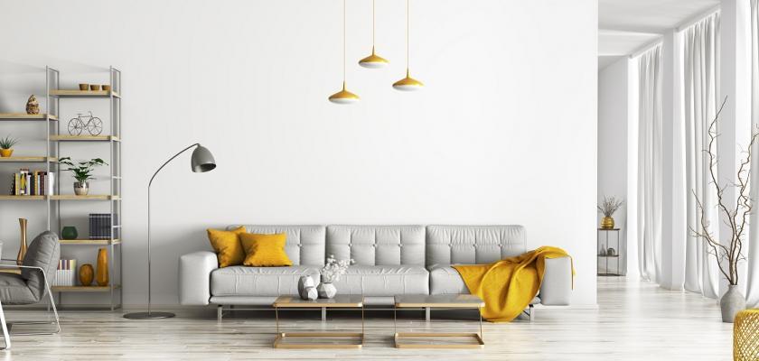 šedožlutý interiér