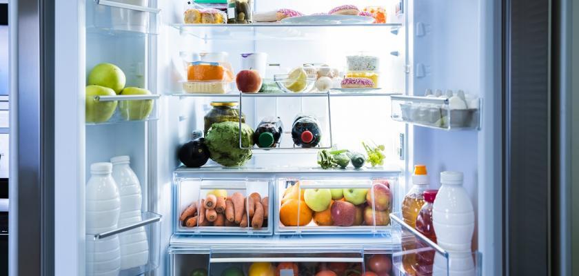 naplno otevřená lednice