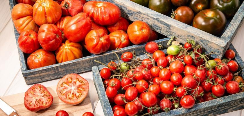 rajčata v dřevěných bedýnkách