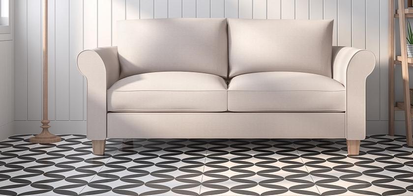 obývák s černobílou podlahou
