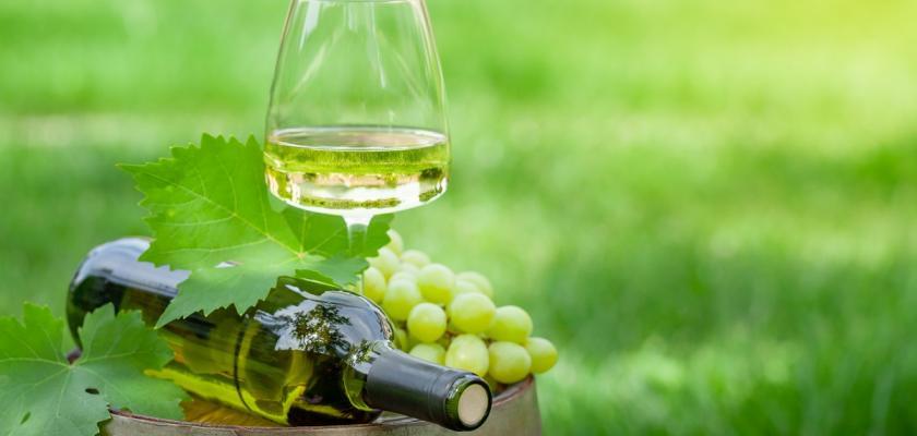 bílé víno s hrozny