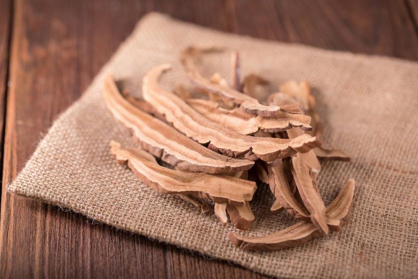 sušené houby na látce