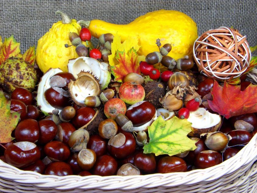 podzimní dekorace s kaštany