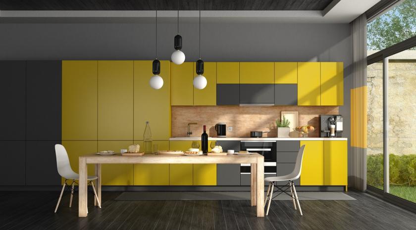 žlutočerná kuchyně