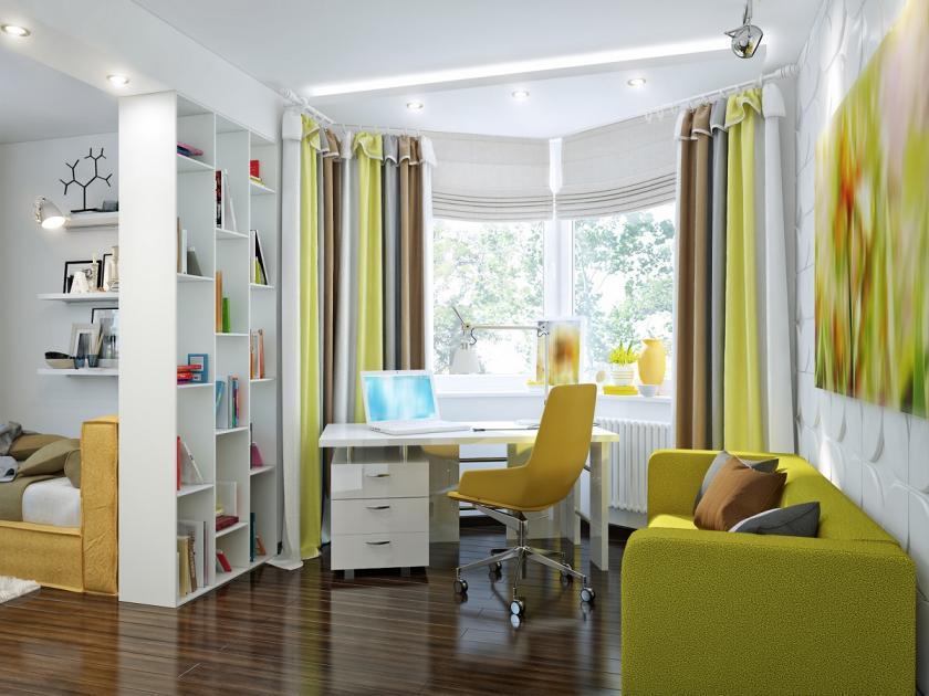 žlutý studentský pokoj
