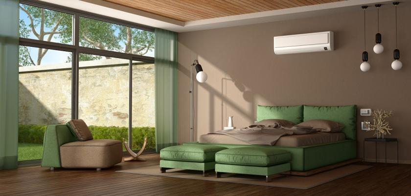hnědozelená ložnice