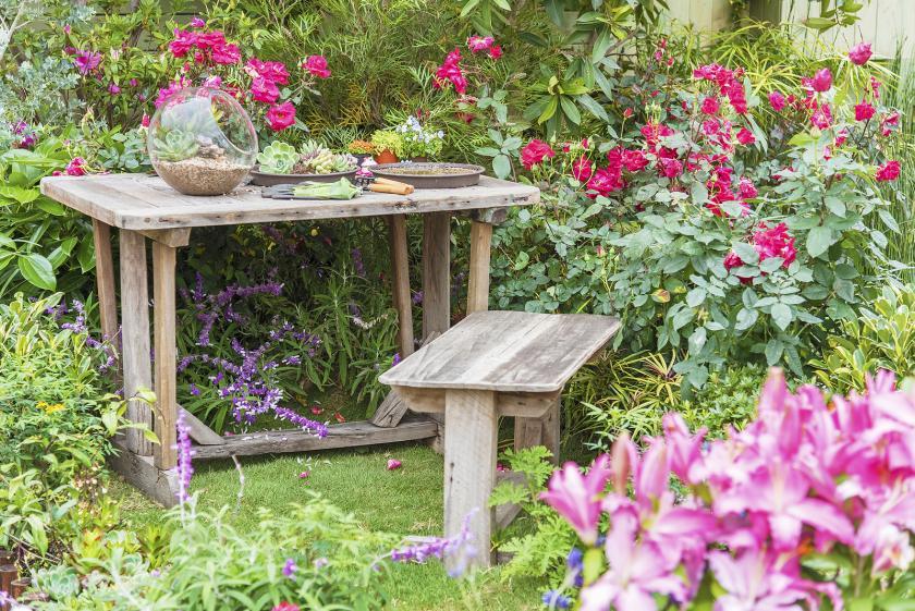sezení na zahradě