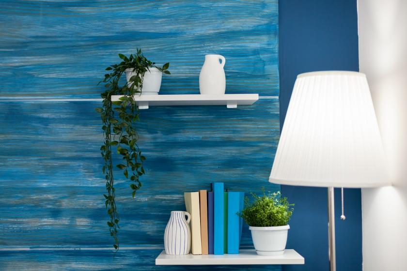 modrobílý obývák