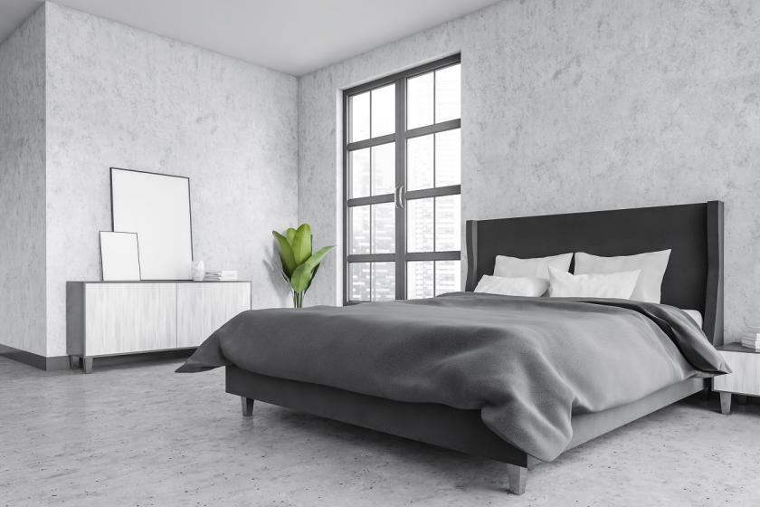ložnice v tónech šedivé