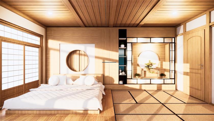 ložnice v zen stylu