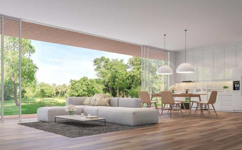 obývací pokoj v kalifornském stylu