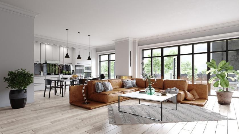 spojená kuchyň s obývákem