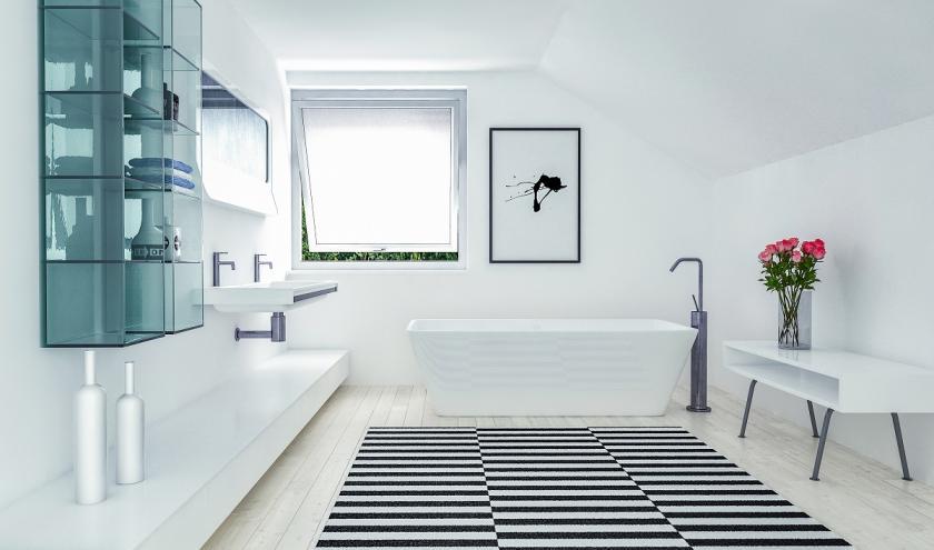 černobílá podlaha v koupelně