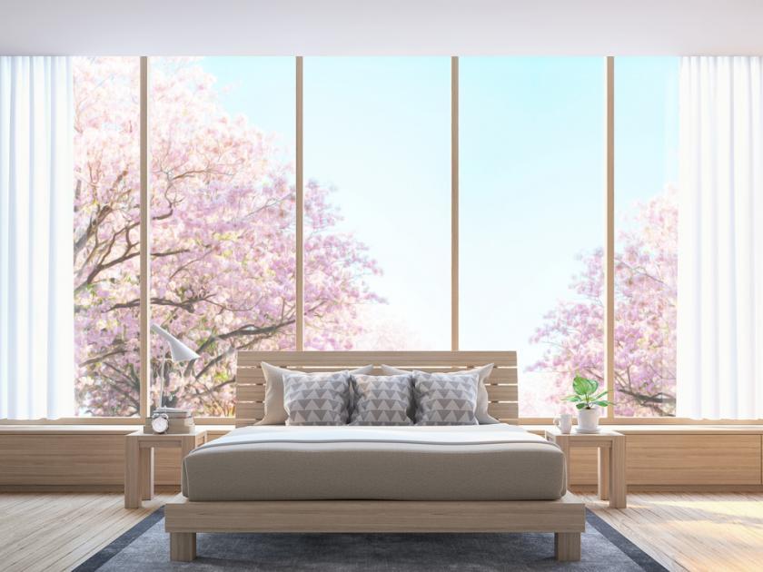 prosklená ložnice
